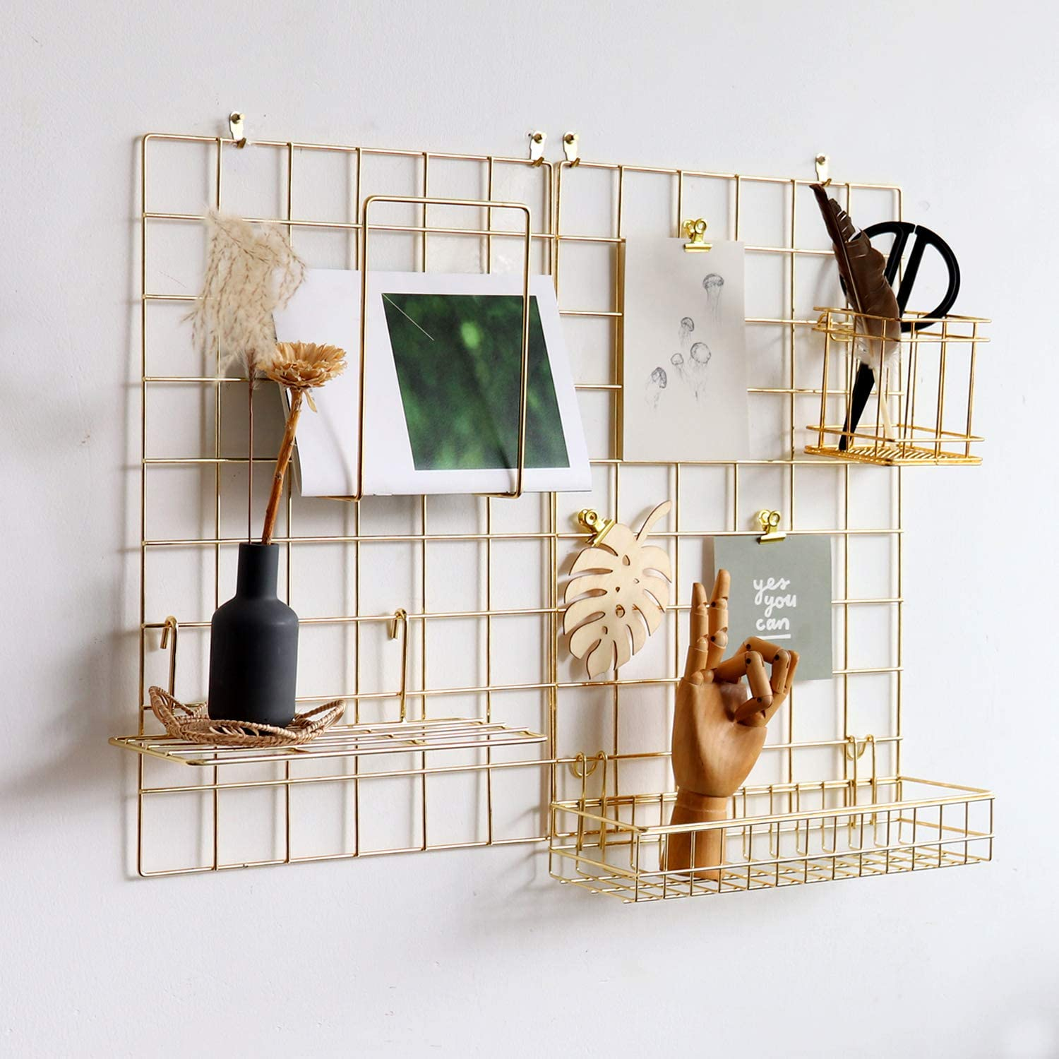 "FRIADE Wall Grid Panel for Photo Display,Wall Storage Organizer,5 Metal Clips & 3 S Hooks & 4 Nails & 4 Plastic Hanging Buckles and 4 Screws Offered,Size 17.5"" x 11.8"",2 Pack(Gold)"