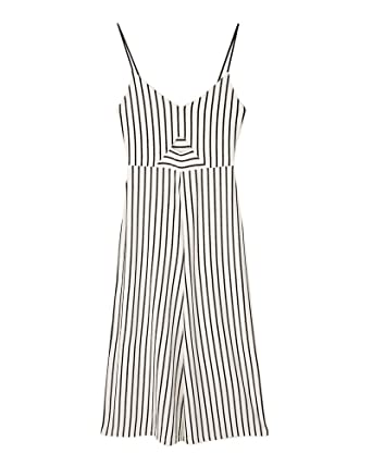 03a6ab02bca Stradivarius Women Striped Strappy Culotte Jumpsuit 2358 653 (Medium) Grey
