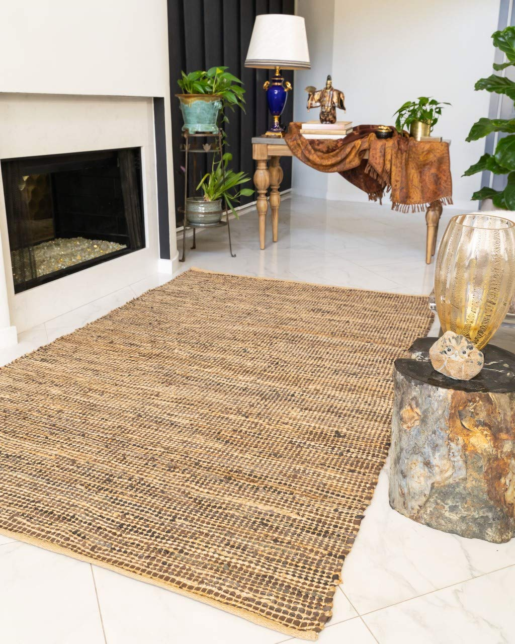 Natural Area Rugs Handmade Reversible Cosmo Leather Jute Rug 6 x 9 Brown