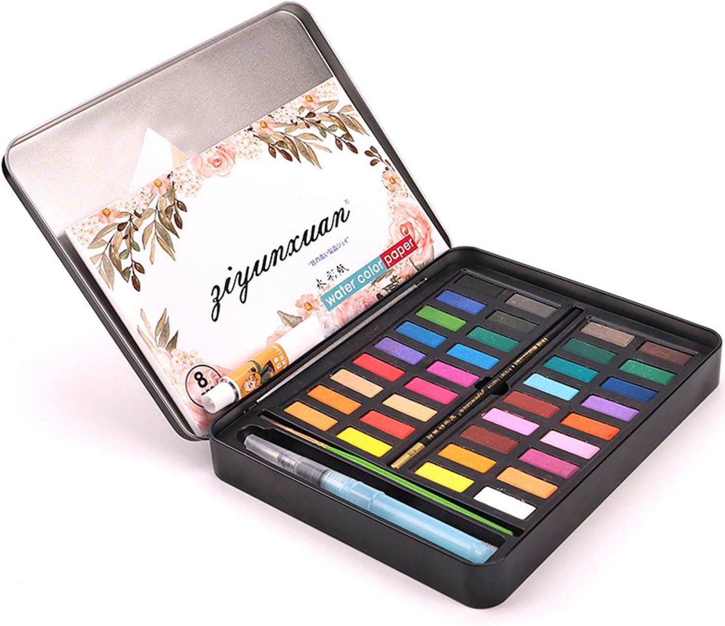 Juego de acuarelas clásicas, 36 colores de acuarela + 3 lápices, acuarelas en caja de metal, ideal para pintar con acuarelas: Amazon.es: Oficina y papelería