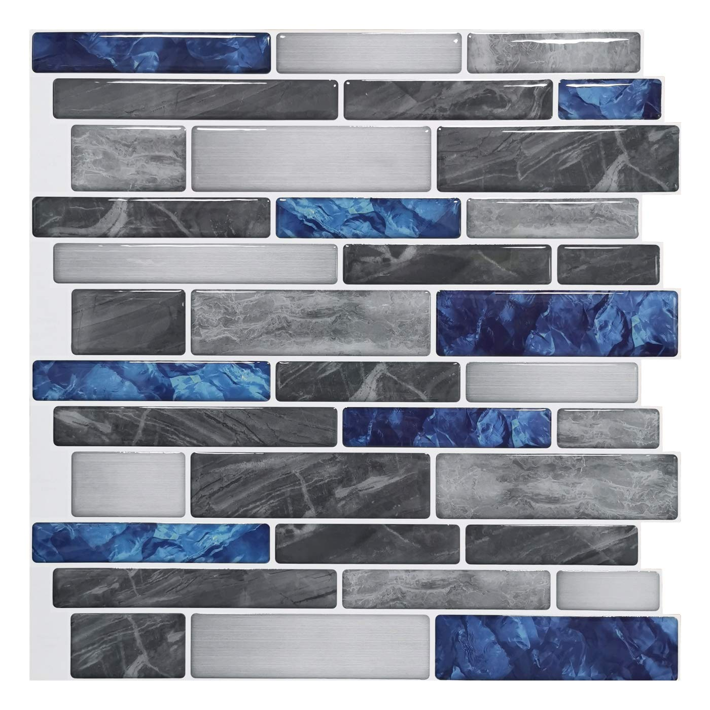 Art3d 10-Sheet Premium Self-Adhesive Kitchen Backsplash Tiles in Marble, 12''X12'' by Art3d