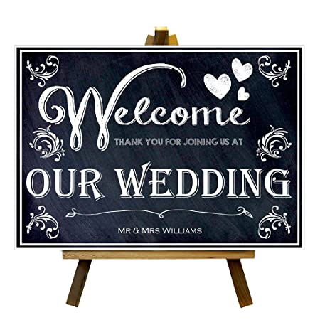 CUSTOM CHALKBOARD STYLE WELCOME TO OUR WEDDING MR MRS PRINT POSTER SIGN A3