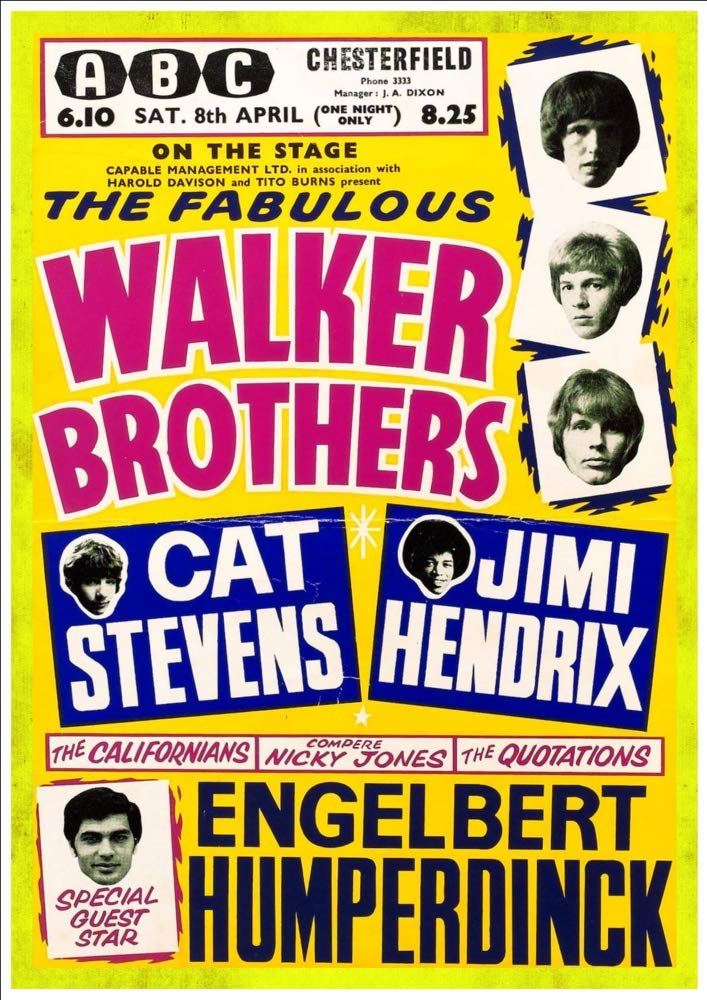 Chesterfield The Walker Brothers at the ABC 1967 A4 Glossy Vintage Concert Poster Art Print