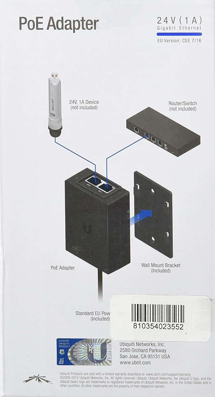 Ubiquiti Networks POE-24-24W-G Gigabit Ethernet 24V adaptador e inyector de PoE.