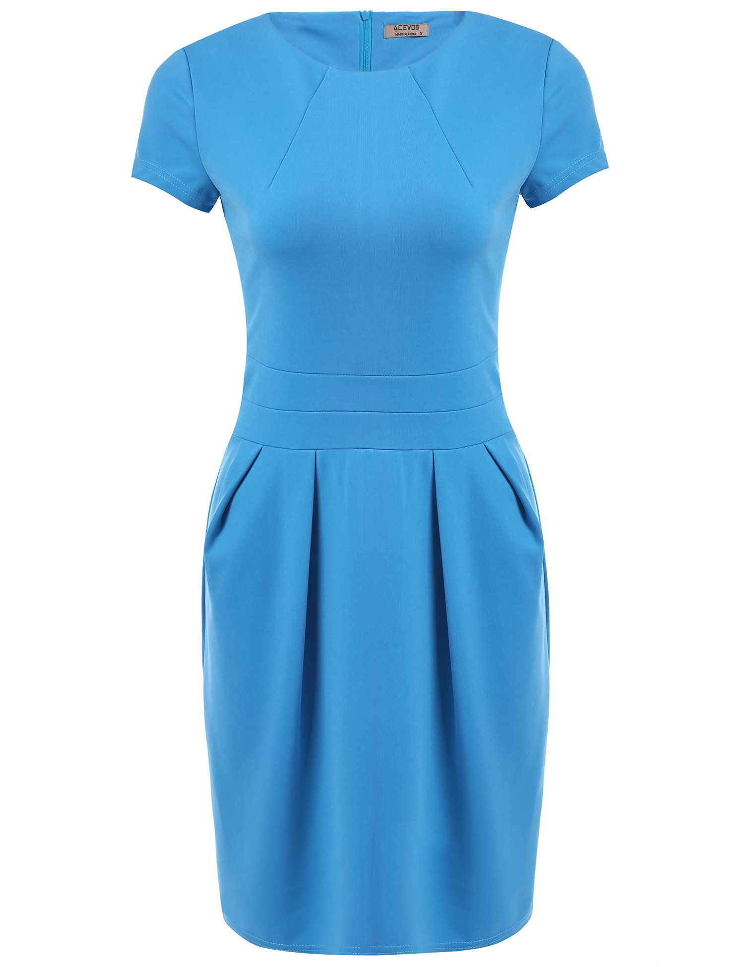 ACEVOG Women's Color Office Workwear Short Sleeve Sheath Business Dress