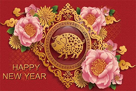 Happy New Year Backdrop Vinyl 10x8ft Chinese Pig Year Red New Year Greeting Card Pig Paper-Cut Pink Peony Flowers Background Child Kids Adult Shoot New Year Celebration Poster