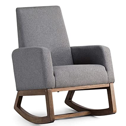 amazon com giantex upholstered rocking chair modern high back rh amazon com grey armchairs ikea grey armchairs for living rooms