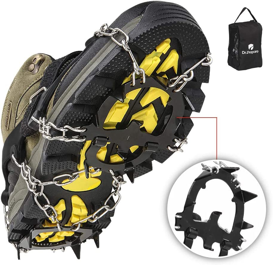 DR.PREPARE Ice Cleats, Ice Grippers & Crampons, Traction Cleats for Women Men Kids, Ice Spikes Snow Cleats Snow Grips for Shoes Boots, Ice Grips Microspikes, M (US Men 5-8.5 / US Women 6-9.5)