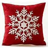 Winter Greetings Beige Ivory Shadow Beautiful Snowflake In Red Merry Christmas Gifts Cotton Linen Throw Pillow Case Cushion Cover Home Office Living Room Sofa Car Decorative Square 18 X 18 Inches