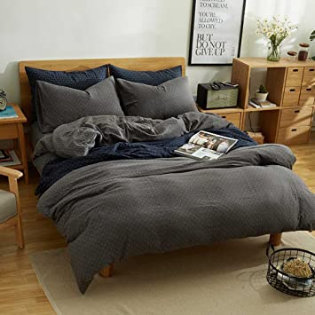 mkxi simple bedroom collection 3 pieces grey queen size duvet cover setcross printed