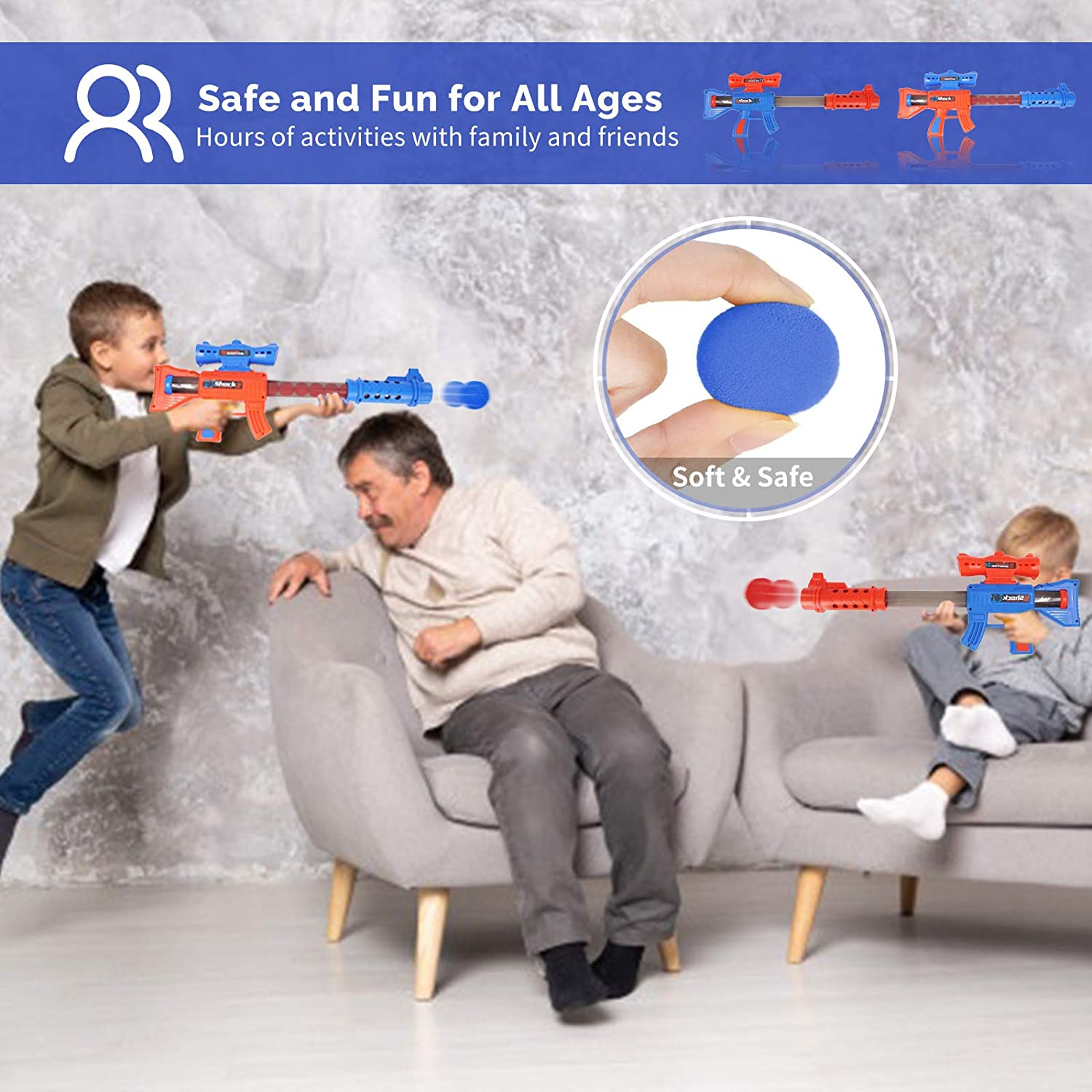 Birthday Gifts for Boys Girls Kids Compatible with Nerf Toys Shooting Game Toys for 5 6 7 8 9 10+ Year Old Boys and Girls 2pk Air Powered Toy Guns Set with Standing Shooting Target /& 24 Foam Balls