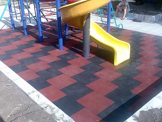 SUELOS PARA PARQUES INFANTILES suelos de caucho protector Losetas de caucho (Negro): Amazon.es: Jardín