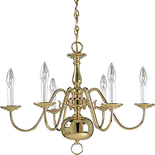 Progress Lighting P4356-10 Traditional Six Light Chandelier from Americana Collection Cast Finish