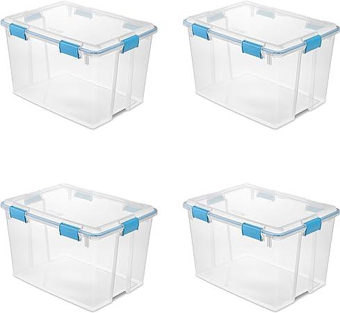 Sterilite 19384304 80 Quart/76 litros Caja de Juntas, Tapa Transparente y Base w/Azul Acuario Cierres & Junta, Pack de 4 Unidades: Amazon.es: Hogar