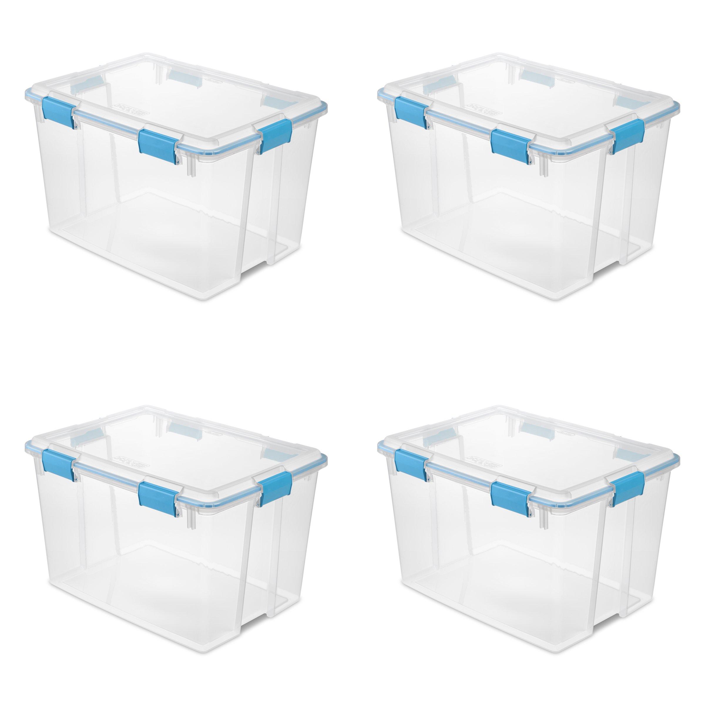 STERILITE 19384304 80 Quart/76 Liter Gasket Box, Clear Lid & Base w/Blue Aquarium Latches & Gasket, 4-Pack
