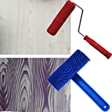 """Da Jia 2Pcs Rubber 7"""" Empaistic Wood Pattern Painting Roller + 3.9"""" Graining Painting Tool with Handle"""