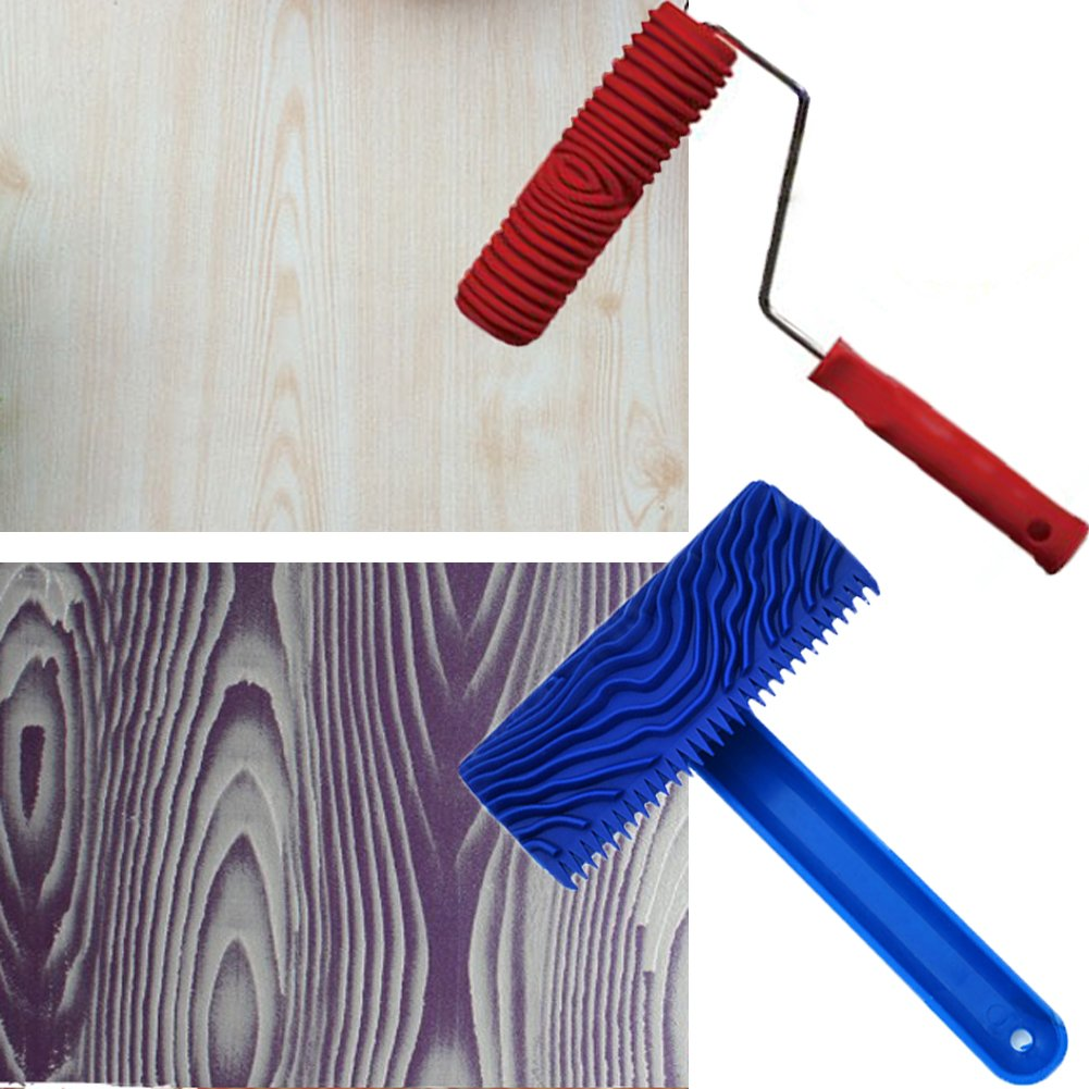 TINTON LIFE 2Pcs Rubber 7'' Empaistic Wood Pattern Painting Roller + 3.9'' Graining Painting Tool with Handle
