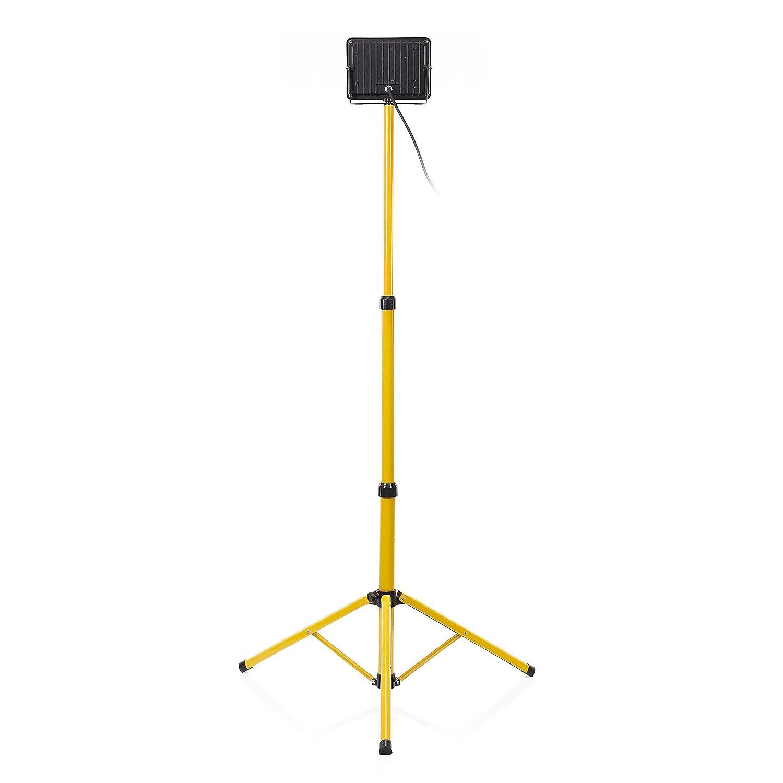 30 Watt Energieklasse A+ Smartwares CLT-S30-Y Ultraflacher LED-Baustrahler auf Stativ 30 W 2350 Lm gelb
