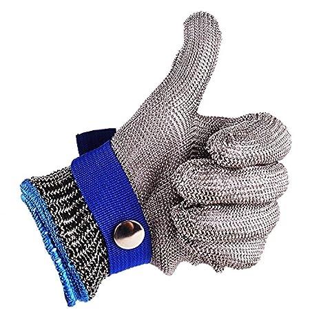 Azul seguridad a prueba de cortes Stab resistente protección Nivel 5 de alto rendimiento Guante de carnicero de malla metálica acero inoxidable Talla ...