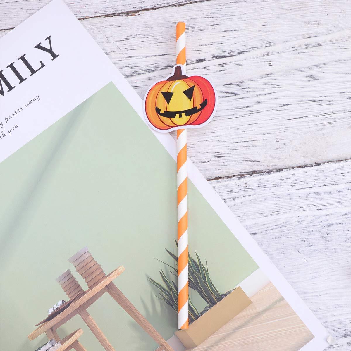 Amosfun 25 Pezzi Cannucce di Halloween Cannuccia monouso in Carta biodegradabile per Forniture per Feste di Halloween