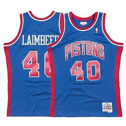 2aa86ff7efe8 Mitchell   Ness Detroit Pistons Bill Laimbeer Swingman Jersey NBA Throwback  Blue (XX-Large