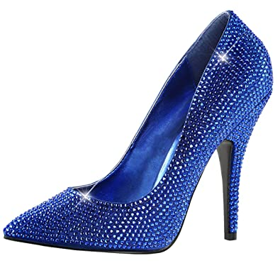 e8751fc5d2d Summitfashions Womens Royal Blue Pumps Pointed Toe Rhinestone Shoes Satin  Dressy 5 Inch Heels Size