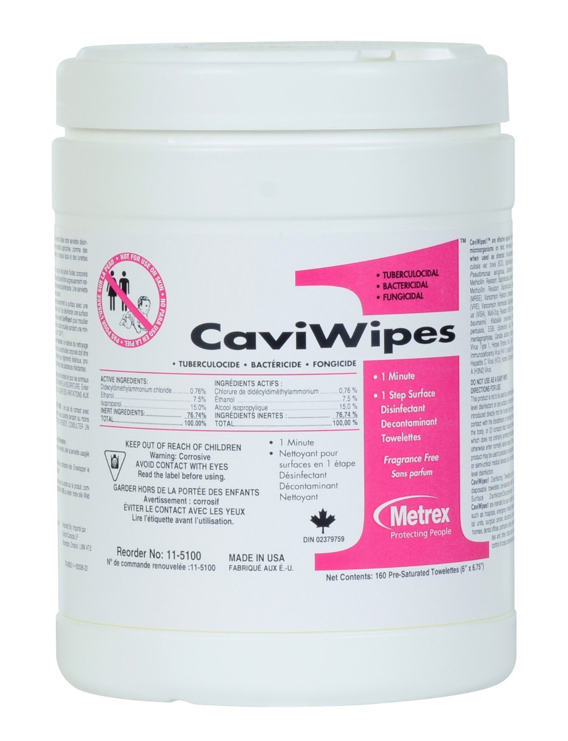 CaviWipes1 Surface Disinfecting Wipes, by Metrex, Large, 160 Count Canister - Case of 12