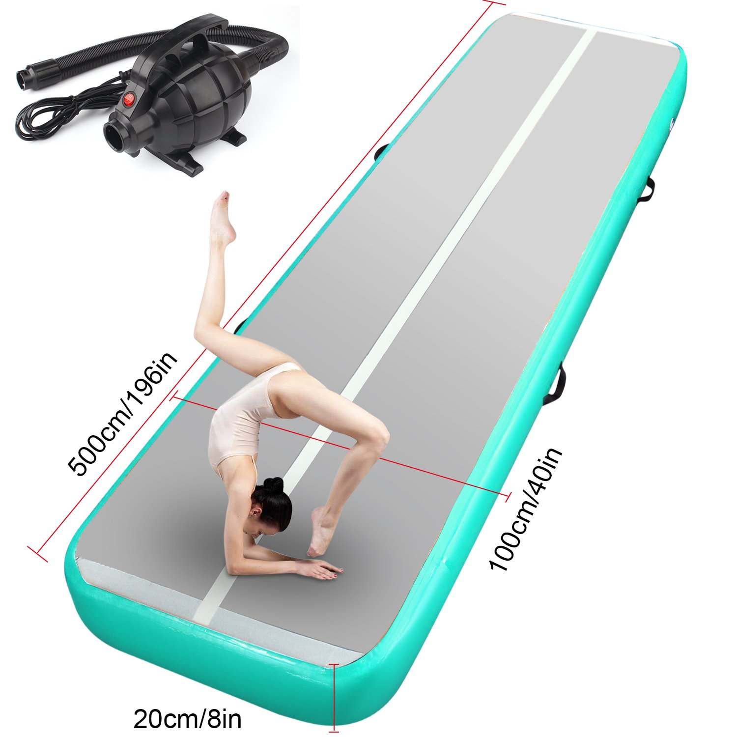 FBSPORT 10ft 13ft 16ft 20ft Inflatable Gymnastics Mat Airtrack Tumbling Mat Non-Slipping Floor Mattress with Air Pump for ...
