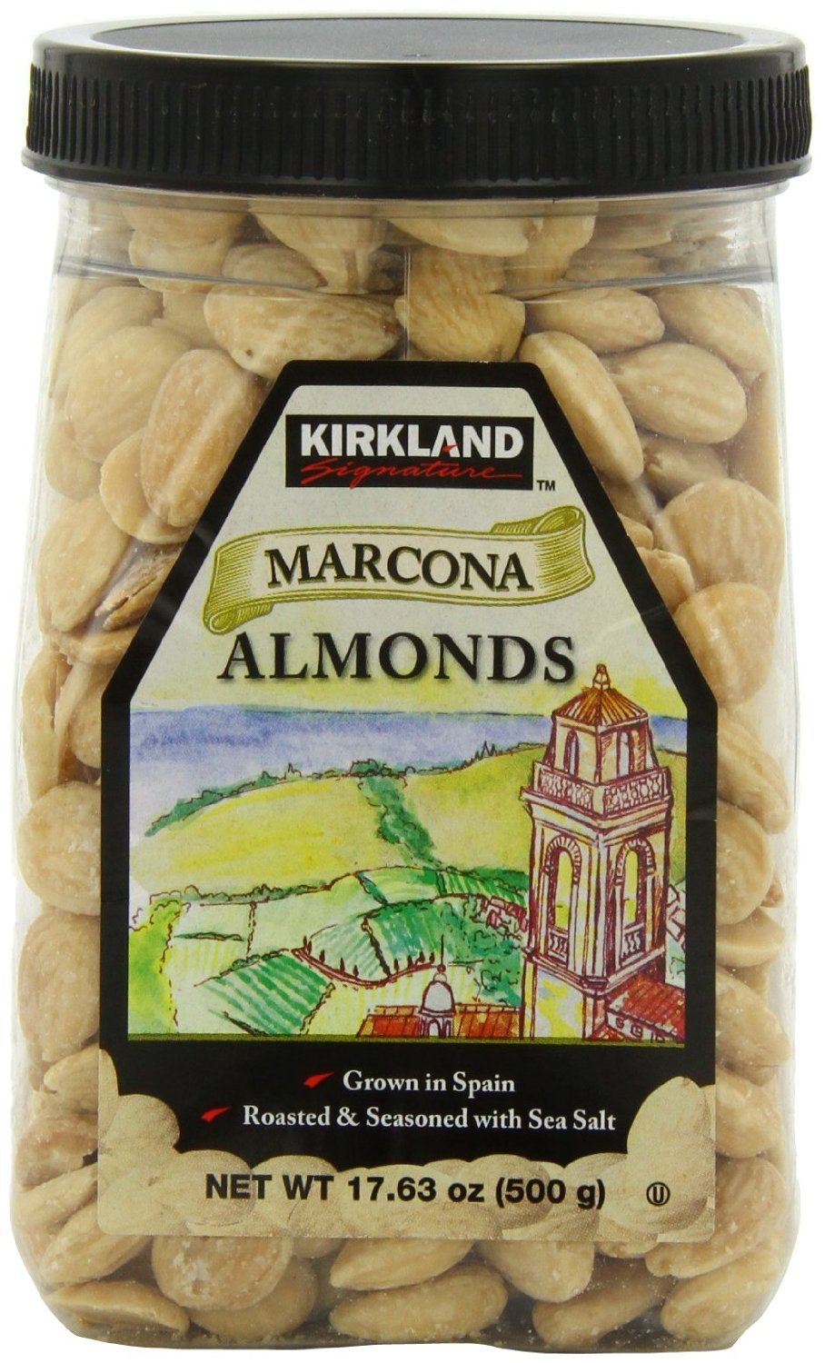 Kirkland Marcona Almonds, Roasted and Seasoned with Sea Salt, 17.63 Ounce (Pack of 2)