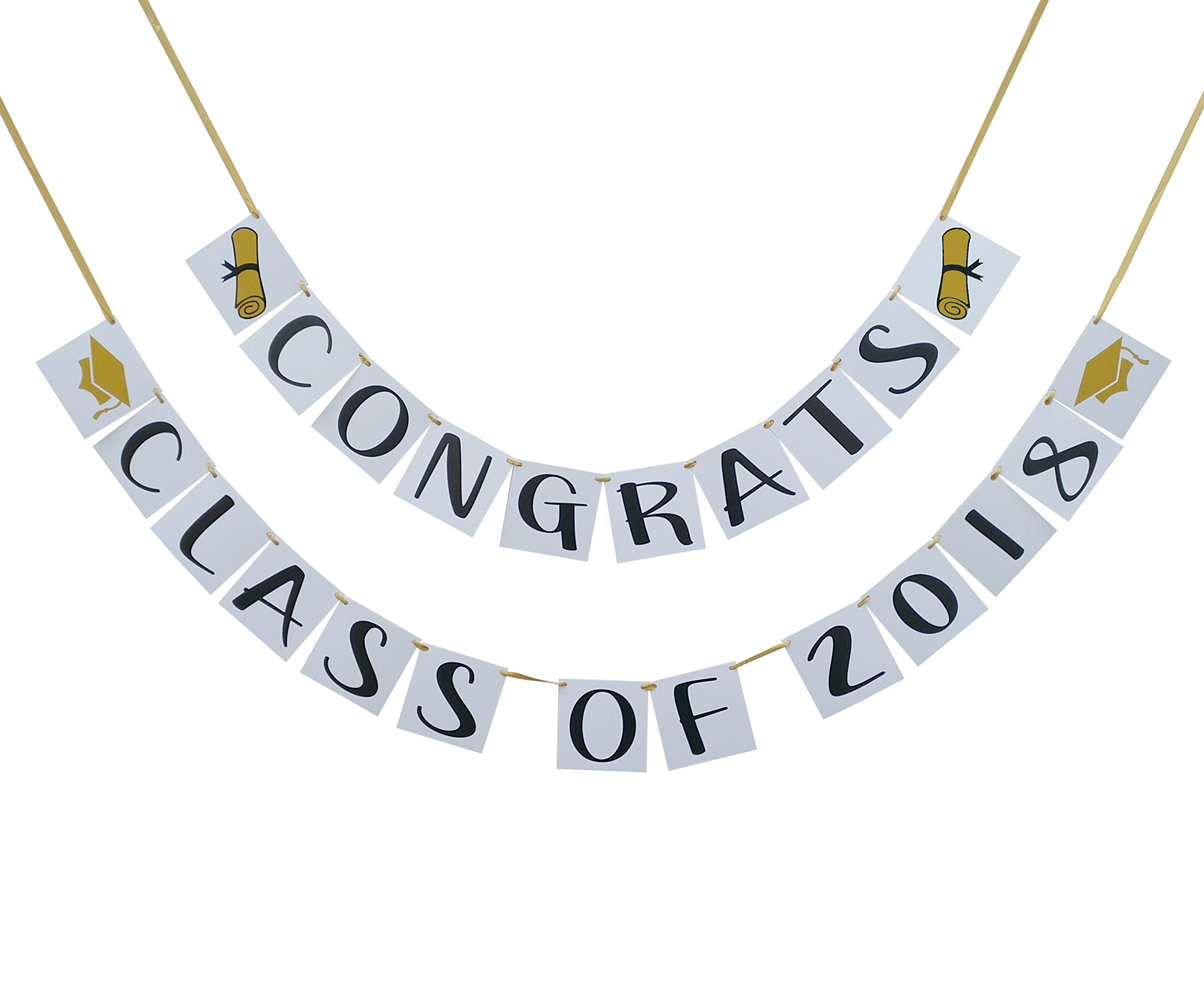 Congrats Class of 2018 Graduation Banner - Graduation Party Decorations - Pre Strung Grad Banner