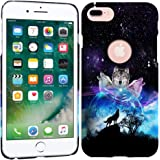 iPhone 7 Plus Case / iPhone 8 Plus Case - Space Galaxy Wolf Face Hard Plastic Back Cover. Slim Profile Cute Printed Designer Snap on Case by Glisten