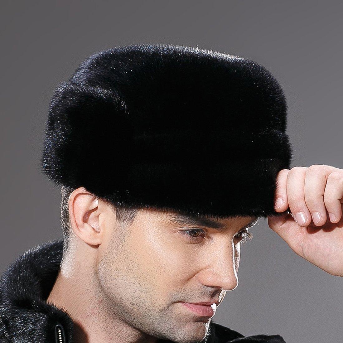 URSFUR Mne's Winter Fur Cap Genuine Mink Fur Fudd Hat Black M by URSFUR (Image #4)