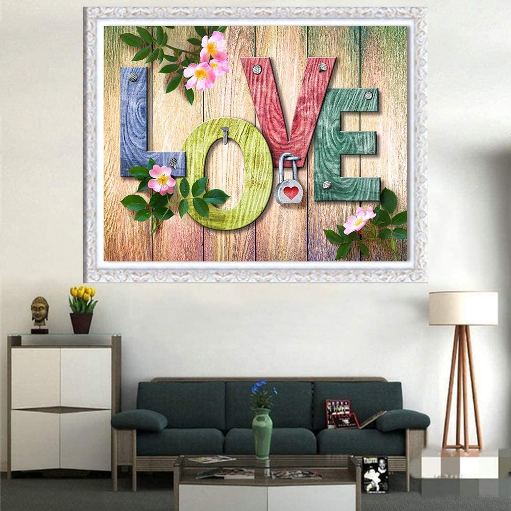 Home and Love Quote Diamond Art Cross Stitch Full Drill Crystal Rhinestone Embroidery Craft for Adult Kids 2 Pack DIY 5D Diamond Painting by Number Kits