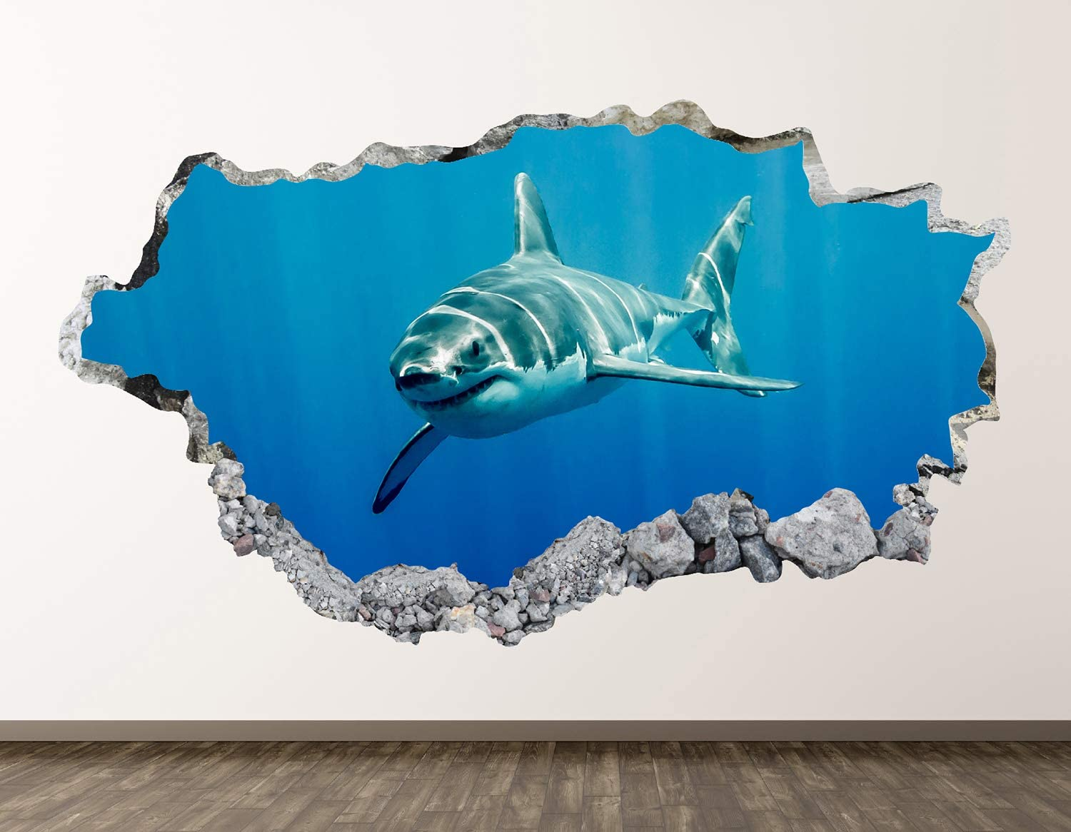 "West Mountain Shark Wall Decal Art Decor 3D Smashed Kids Animal Sticker Mural Nursery Boys Gift BL11 (22"" W x 14"" H)"