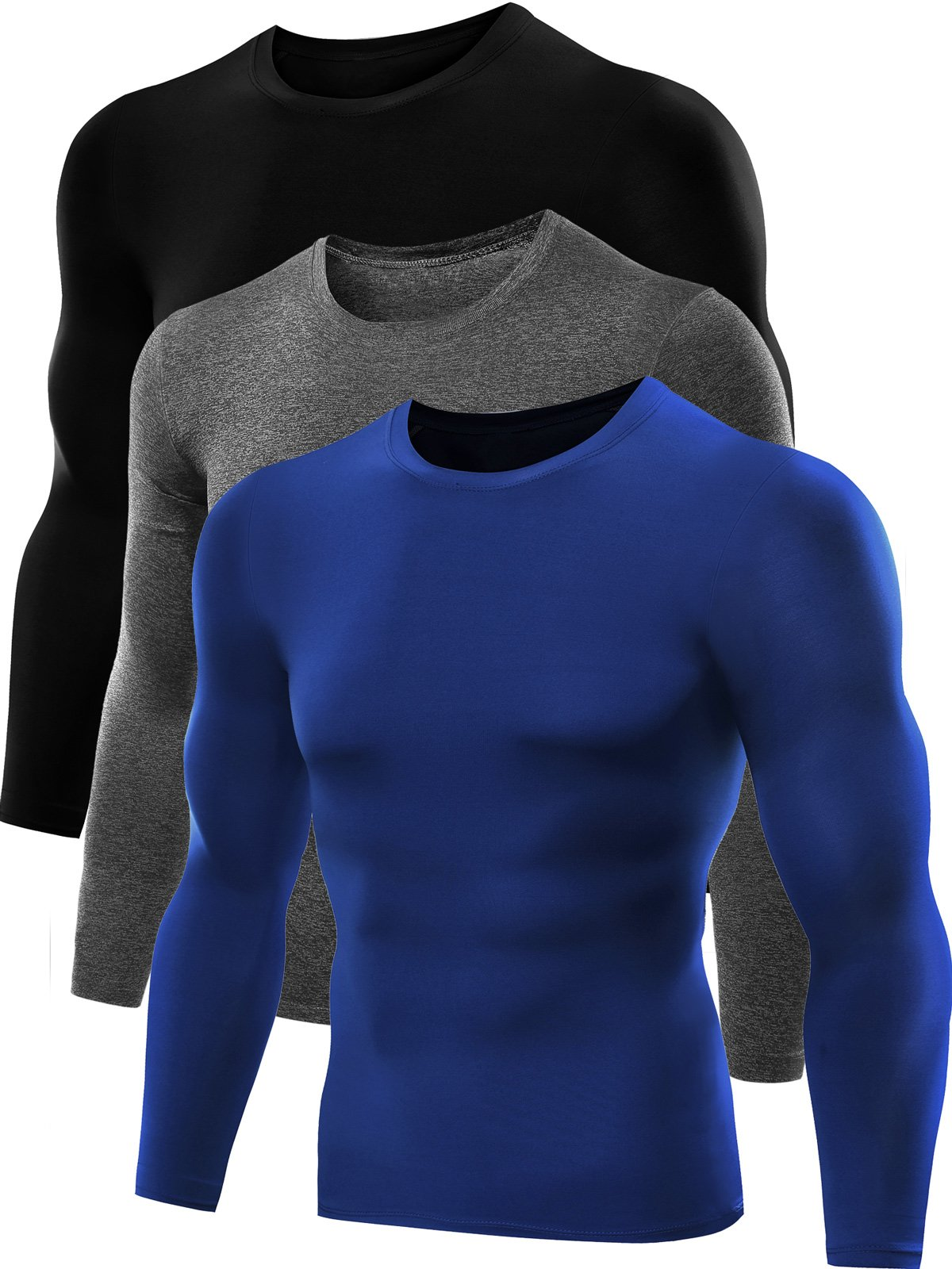 Neleus Men's Dry Fit Athletic Compression Shirts 3 Pack,5021,Blue,Black,Grey,US XL,EU 2XL by Neleus