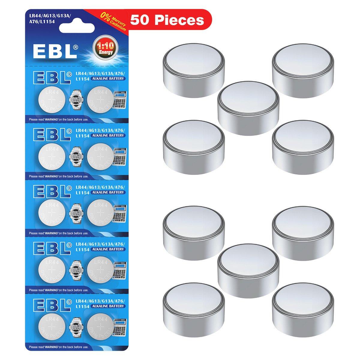 EBL 50 Unidades de Pilas Botón Alcalina L1154 AG13 G13A LR44 A76 Adecuados para Relojes, Calculadoras, Juguetes, Linternas y Otros Micro Dispositivos