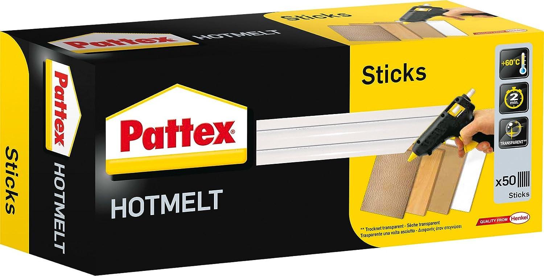 Pattex 113913 Bâtons de colle à chaud 1 kg, Transparent, Set de 50 Pièces Set de 50 Pièces
