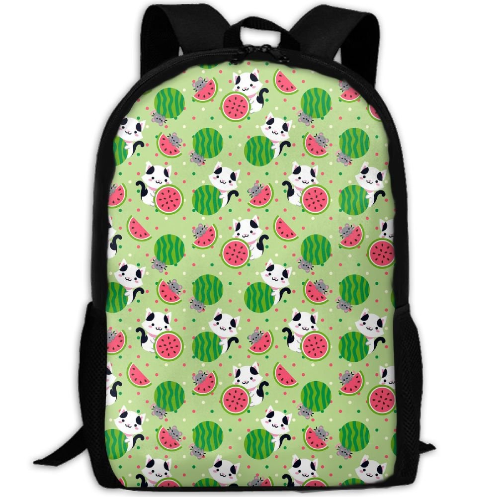 CY-STORE Puppy Dog Likes To Eat Watermelon Print Custom Casual School Bag Backpack Travel Daypack Gifts
