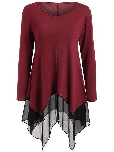 Camisa de manga larga irregular de gasa de empalme de algodón de las nuevas mujeres de largo camiseta