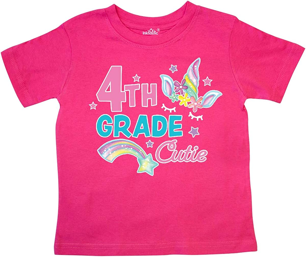 inktastic 4th Grade Cutie with Unicorn and Shooting Star Toddler T-Shirt