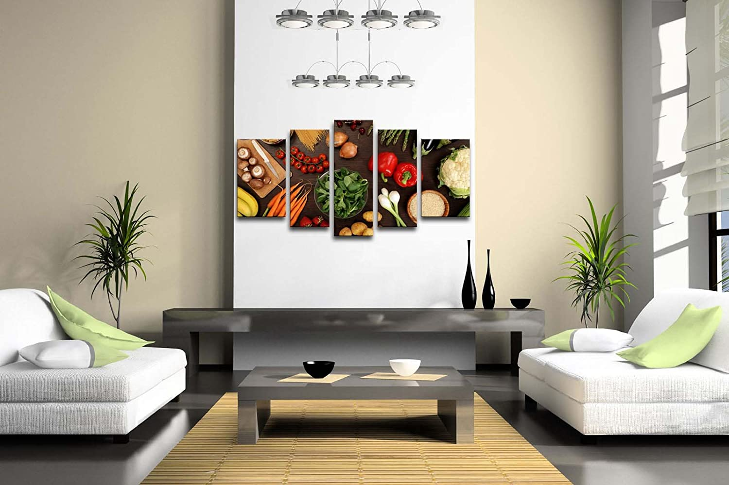 Amazon.com: 5 Panel Wall Art Fresh Look Color Healthy Eating Of A ...