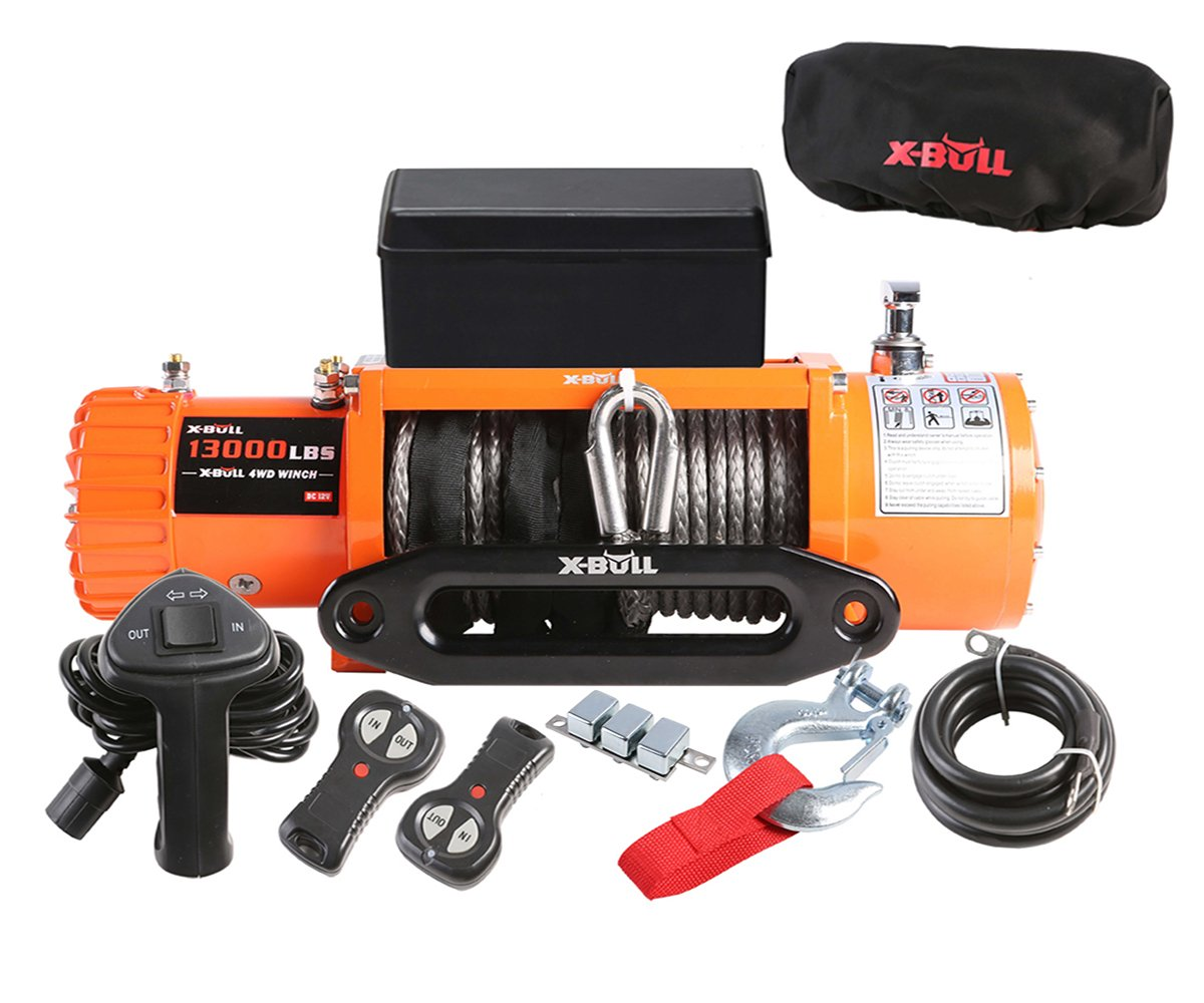 X-BULL 12V Waterproof Synthetic Rope Winch-13000 lb. Load Capacity IP67