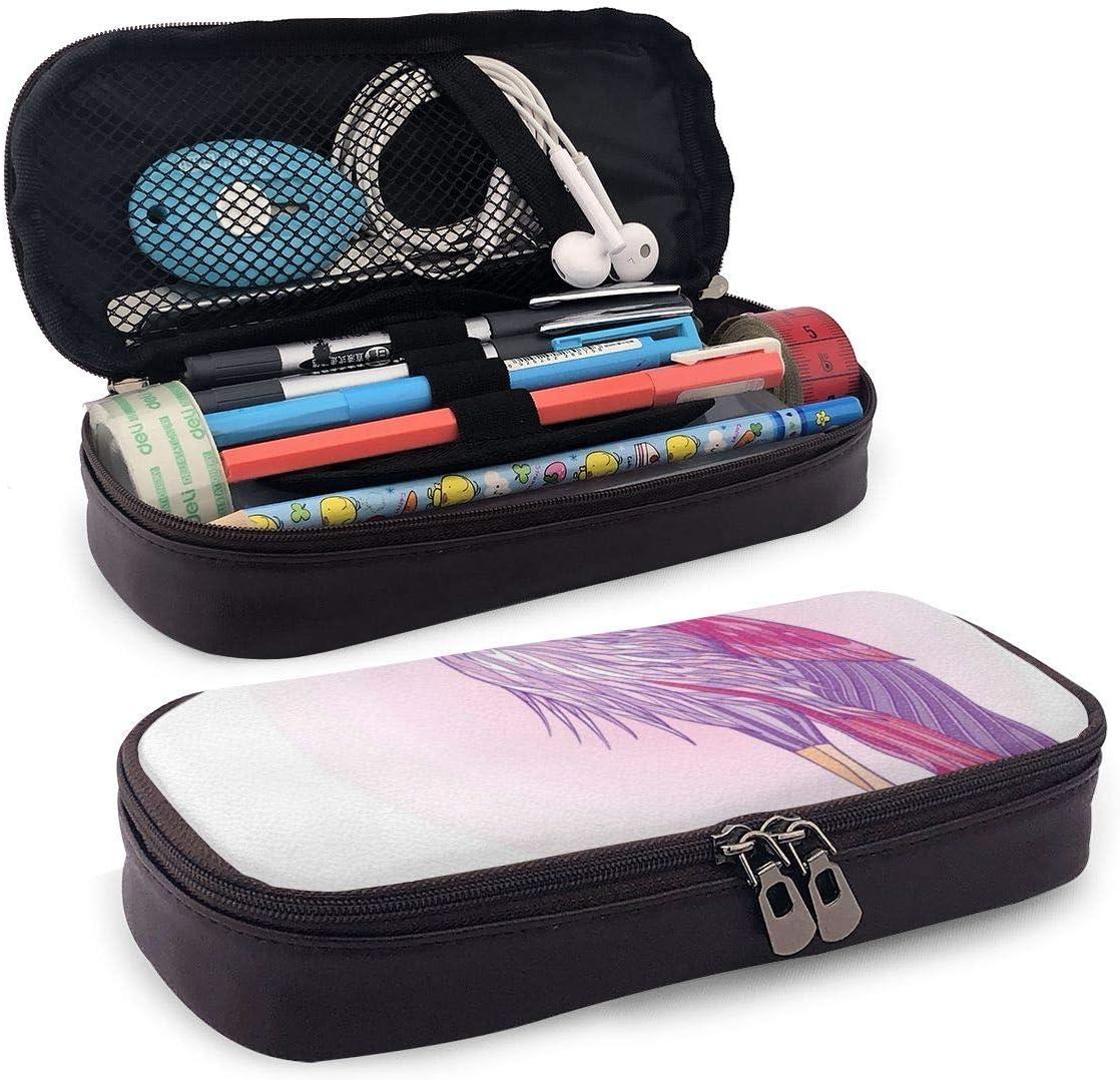 Estuche de lápices de cuero, Pájaro de corona de pierna larga japonesa que presenta con fondo puesta de sol de plumas moradas y rosadas, Estuche de lápices de estudiante, 7.8 'x4.5' x1.5 '