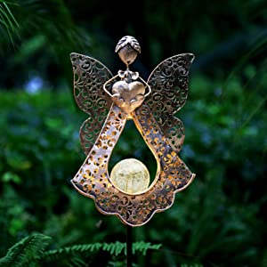 Kaixoxin Solar Garden Stake Lights Metal Angel Solar Warm White LEDs Stake Light Memorial Gift - Solar Angel Lights Perfect as Angel Remembrance Gifts & Sympathy Gifts (Angle-Bronze)