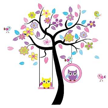 Wandtattoo Wandaufkleber Wandsticker Kinderzimmer Mit Eulen Baum Auf  Schaukel Und Vögel. Wandbild Für Mädchen Oder