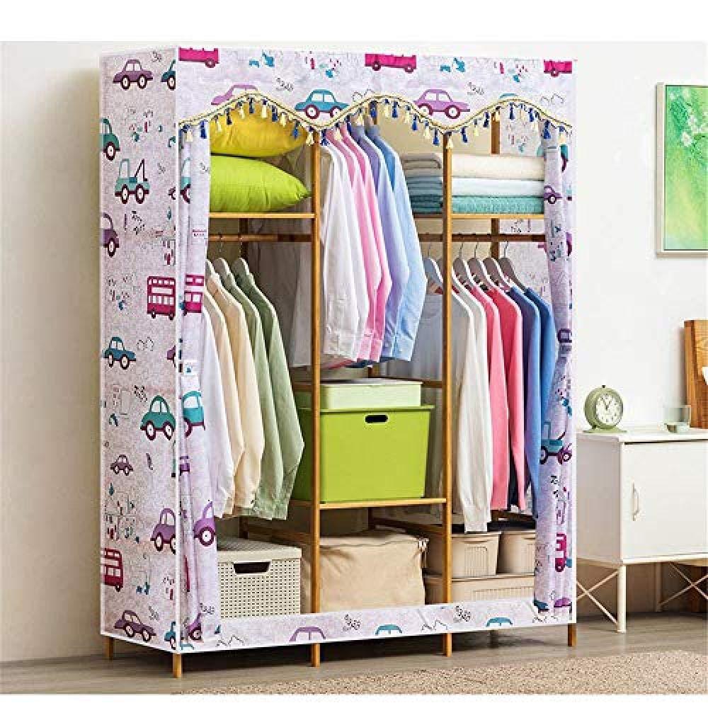 YYZZ DIY Kleiderschrank Freistehende Holzschrank Kleiderständer Schwere Kleidung Kleiderschrank Kleiderständer Closet Storage Organizer mit Kleiderbügel Bar