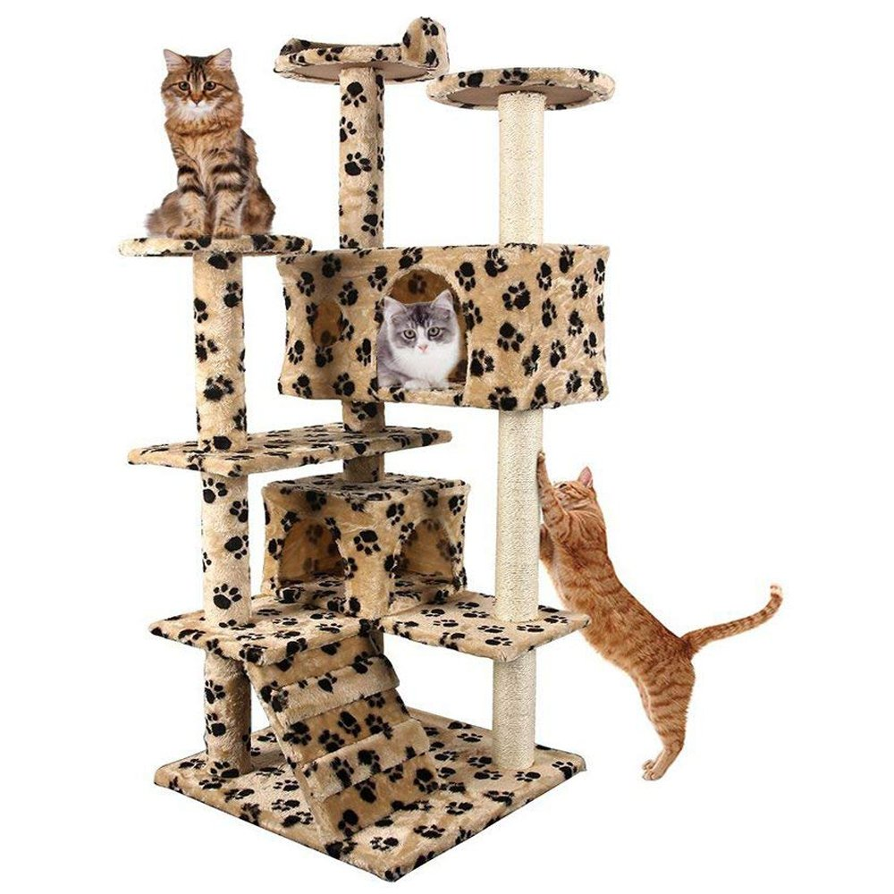 "Yohoz 52"" Deluxe Multi-Level Cat Tree Condo Tower House w/Sisal Scratching Posts Ladder - Plush Perches Activity Climbing Tower Kittens 