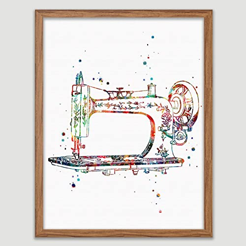 Amazon Com Sewing Machine Watercolor Art Print Craft Room Decor