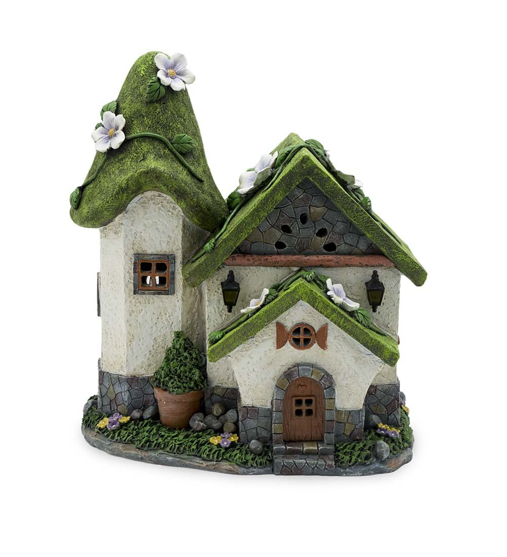 Plow & Hearth Solar Miniature Fairy Garden Cottage, Moss