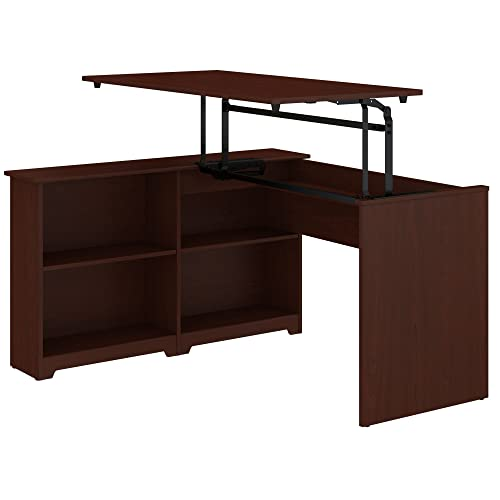 Bush Furniture Cabot 52W 3 Position Sit to Stand Corner Bookshelf Desk